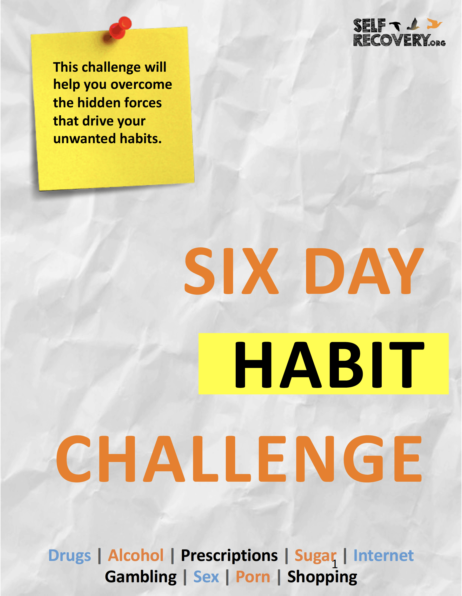The cover page of a 6-day challenge worksheet